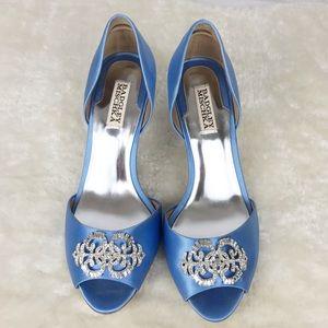 Badgley Mischka Blue Embellished Satin Open Toe
